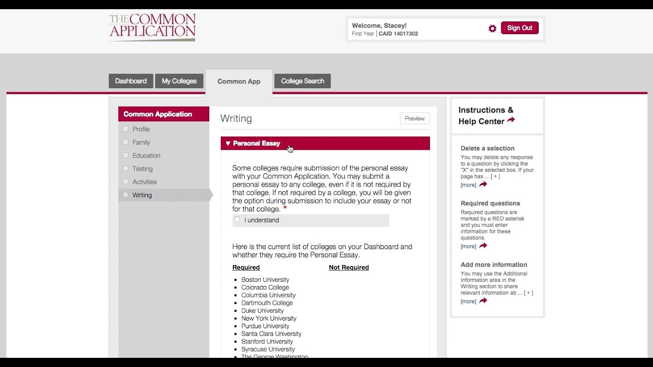 common application essay example