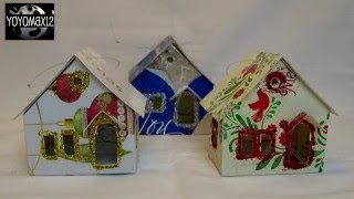 "Putz ""Glitter"" House Ornament Using Recycled Christmas cards-with yoyomax12"