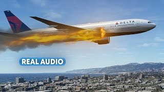 Bursting into Flames Immediately After Takeoff from Los Angeles | With Real Audio