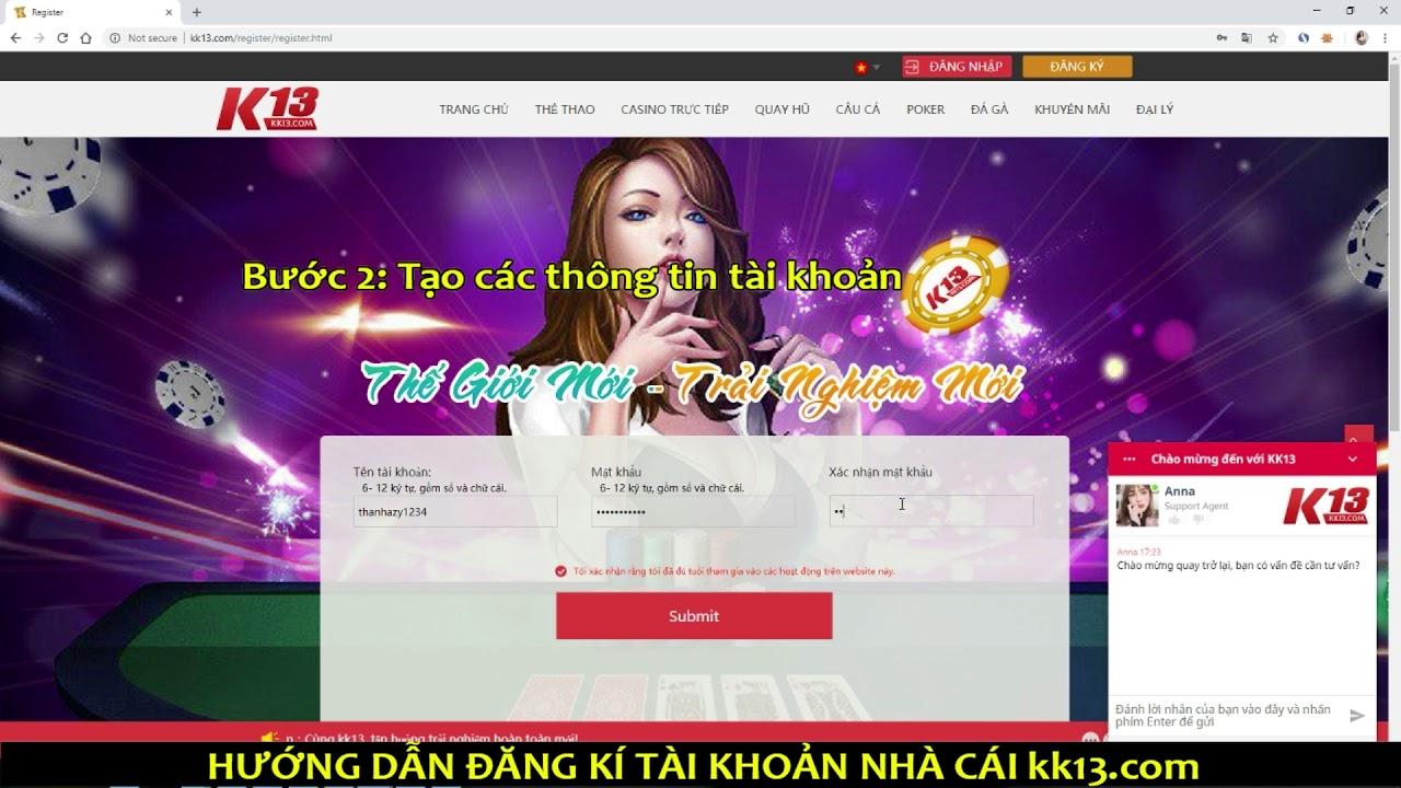 Hướng dẫn đăng ký và xác thực tài khoản cá cược tại K13 - KK13 Club - YouTube