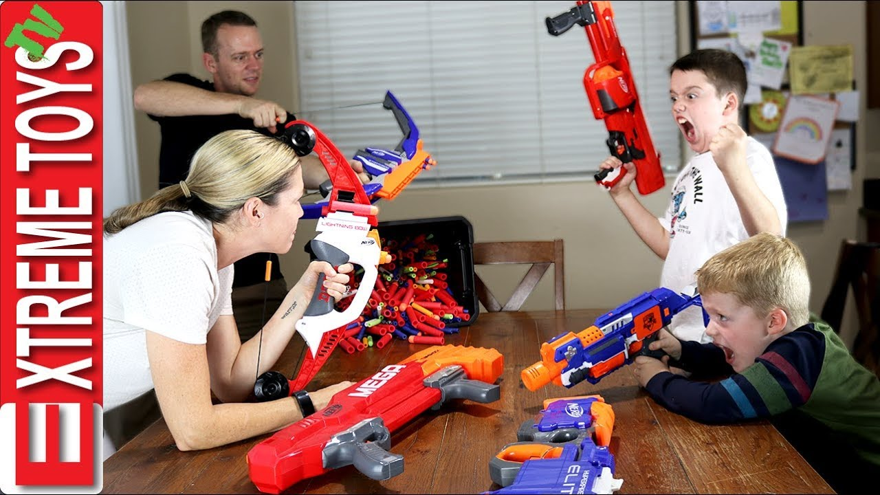 Kids Vs Parents Nerf Attack Round 3! Ethan and Cole Wild Nerf Battle.