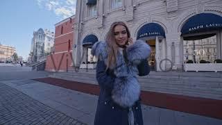 Женская парка с мехом чернобурки