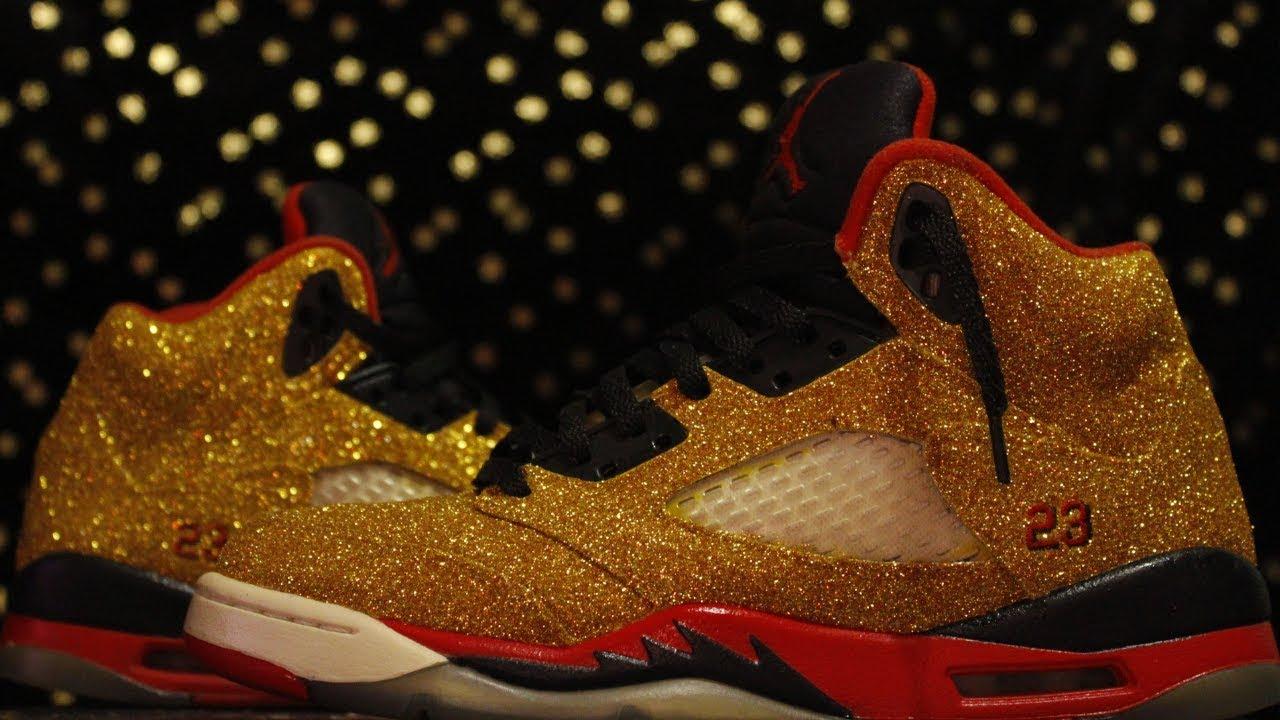 Glitter Jordan 5 Retro Custom Glitter Jordan 5 Glitter Jordans How To  Glitter Jordans diy glitter sh d316ba197