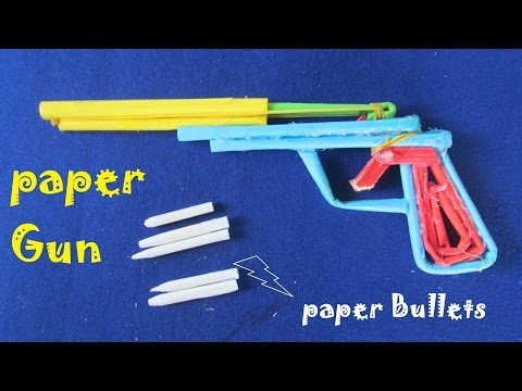 How to make a paper Short Gun that shoots with paper bullets - Toy gun