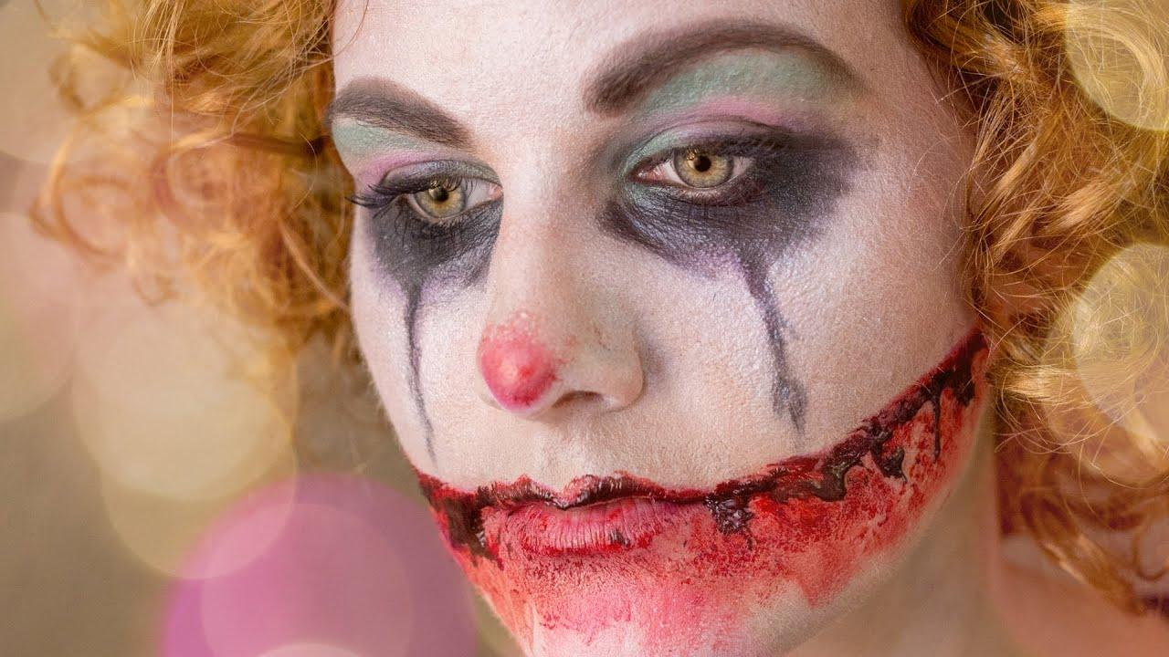 Trauriger sad horror clown easy halloween makeup youtube for Clown schminktipps