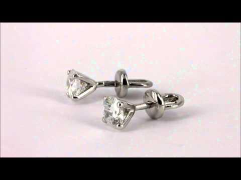 Серьги пусеты с якутскими бриллиантами.