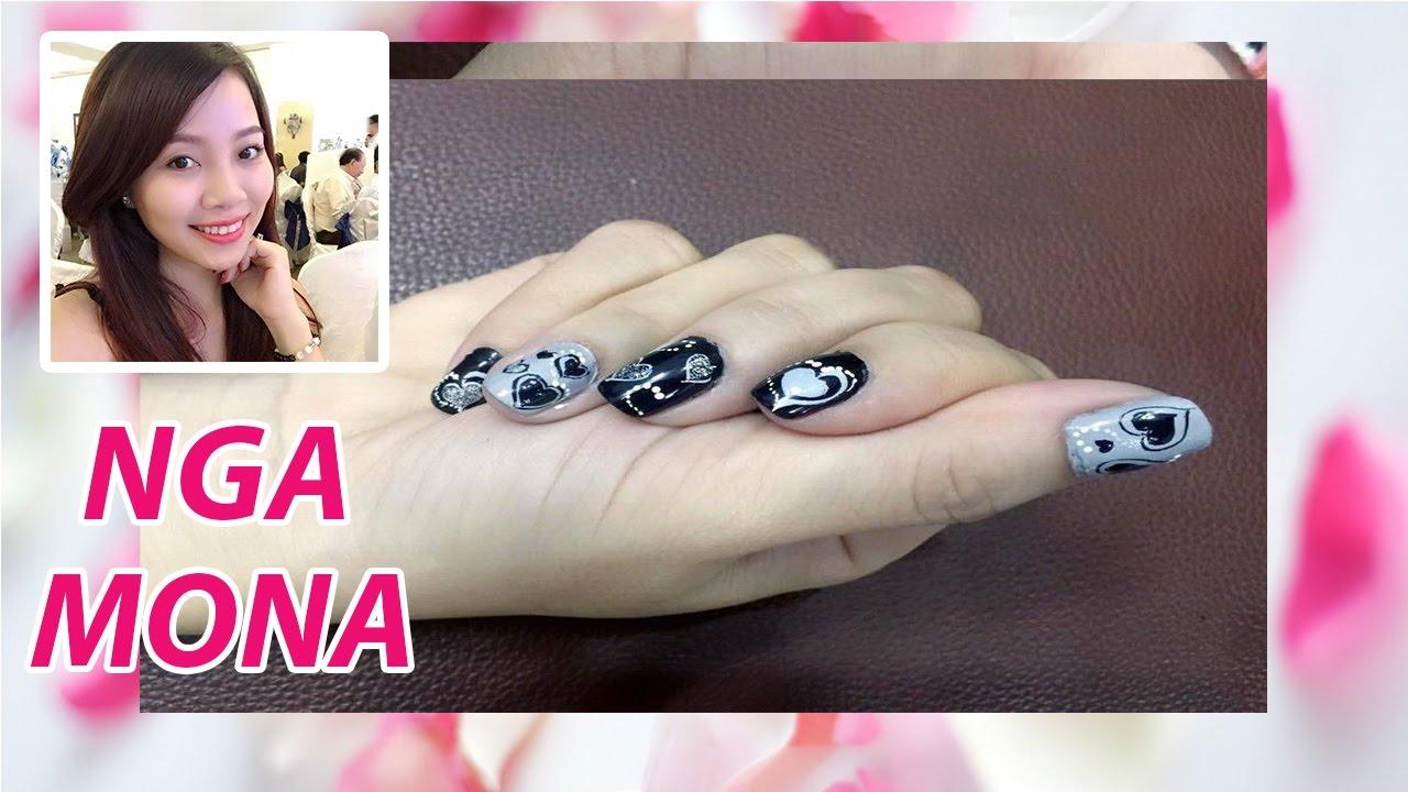 Cách vẽ móng tay đơn giản hoa tím cọ nét xinh xinh nhân ngày quốc tế phụ nữ 8 tháng 3