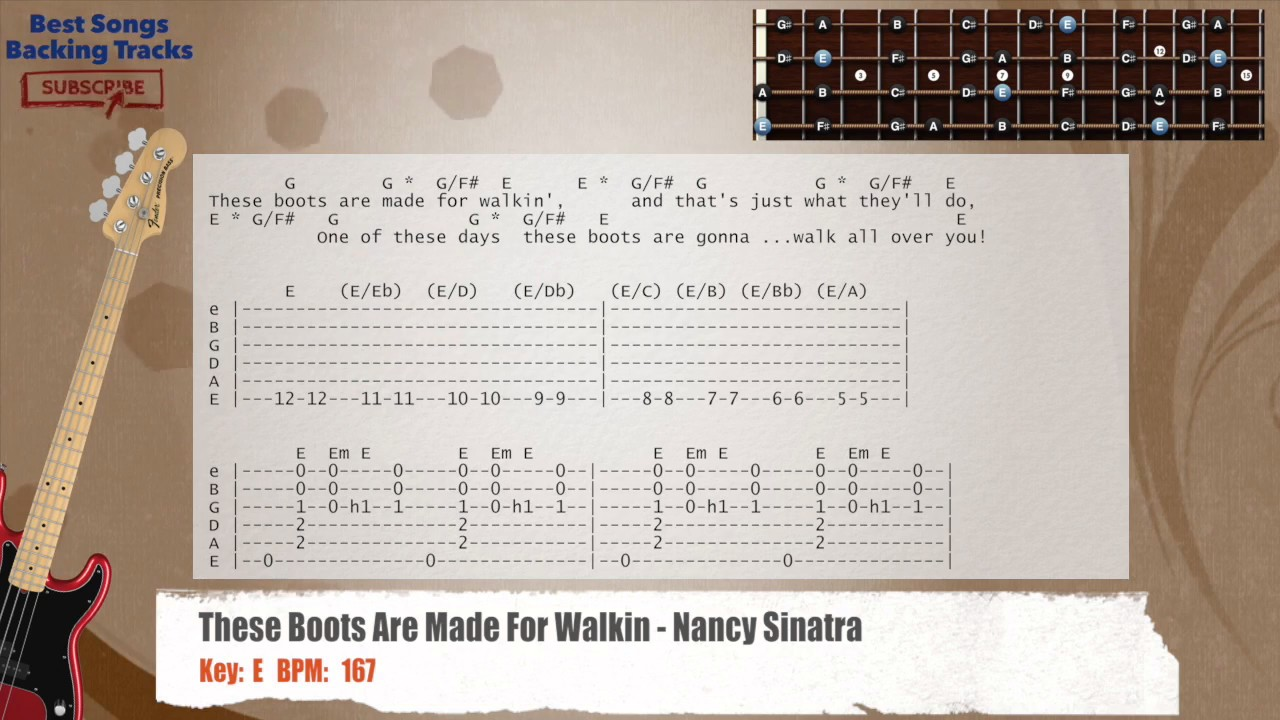 These Boots Are Made For Walkin Nancy Sinatra Bass Backing Track With Chords And Lyrics Youtube