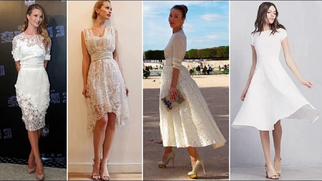 Simple Wedding Dresses Over 40: Vestido Para Casamento Civil Longos E Curtos Cores