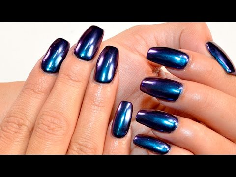 How to Apply Chrome Metallic Pigments to Nails - YouTube