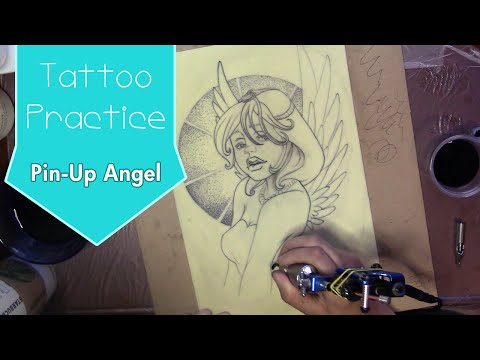 Tattoo Fake Skin Practice - Pin-Up Angel Alessandro Barbucci Inspired