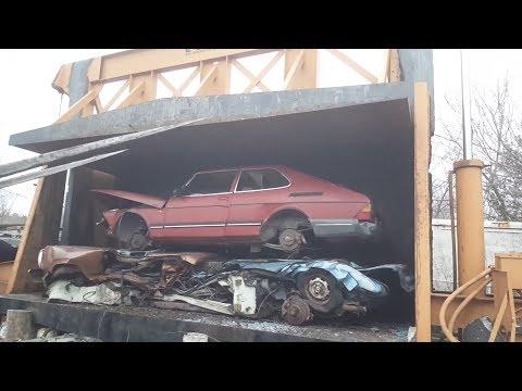 Car crusher crushing cars 56 the SAAB story
