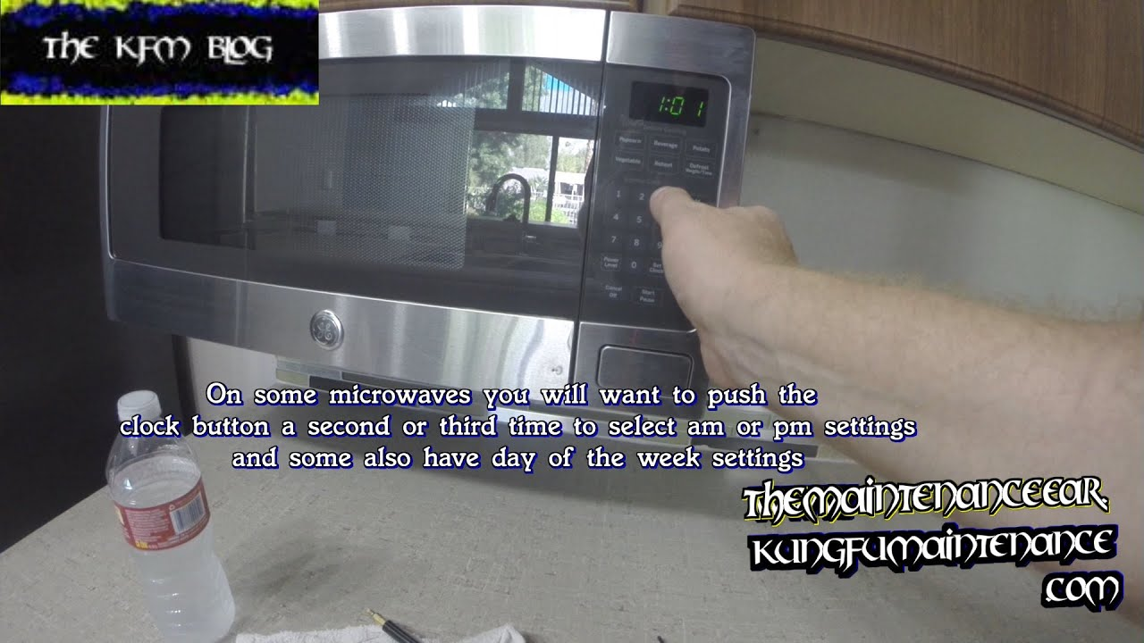 setting up clock display time on under cabinet mounted microwave maintenance repair video