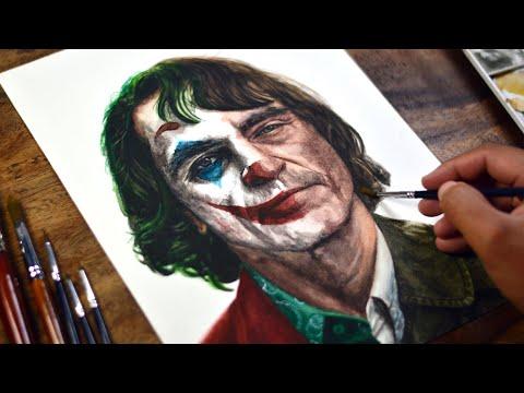 Painting JOKER in watercolor (Joaquin Phoenix)