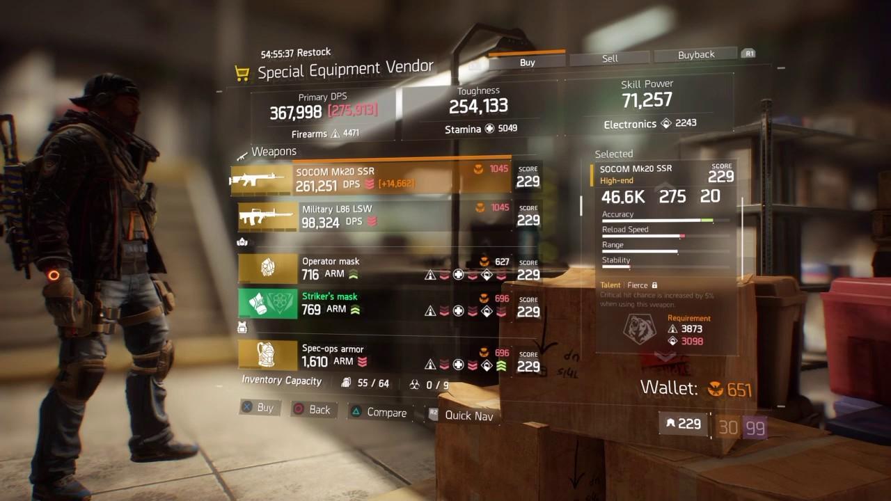 The Division Special Equipment Vendor Update 1 4