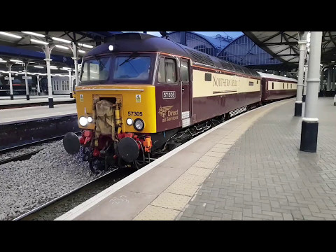 Northern Belle 57305 departing Newcastle - 1Z89 - Dundee to Darlington (4K)
