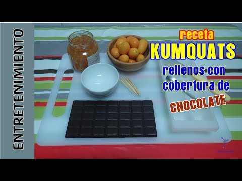 Recipe. Dessert. Kumquats filled with marmalade, with chocolate coating