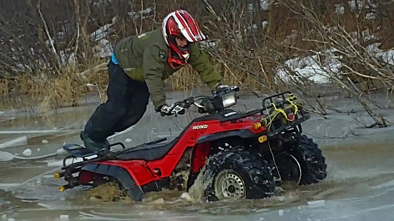 Two Honda 350 Fourtrax In Some Ice Youtube