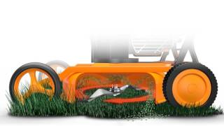 How does a mulching mower work?
