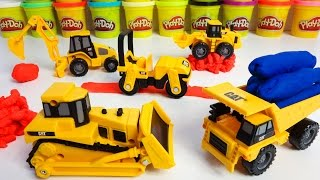Cat Caterpillar Toys Play Doh Fun Dump Truck Bulldozer Steamroller Excavator Wheel Loader