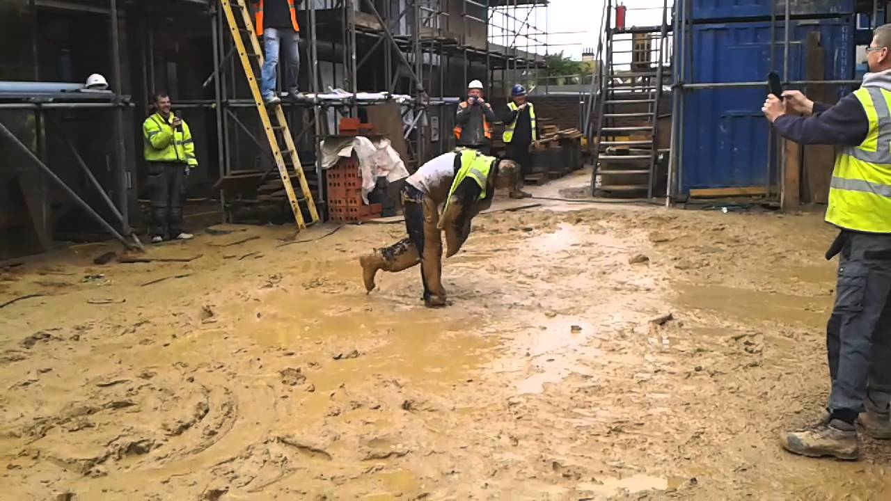Funny Stunt by Construction Worker, Labourer, Callum throws himself ... Funny Construction Pictures