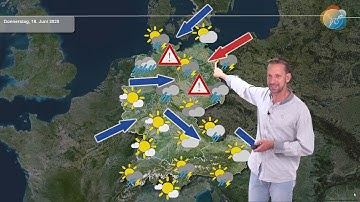 Aktuelle Wettervorhersage für den 18. Juni 2020: Konvergenz mit Starkregengefahr wandert nach Osten.