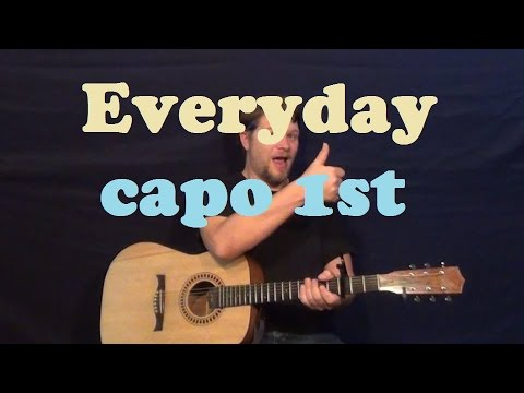 Everyday (Buddy Holly) Easy Strum Guitar Lesson How to Play Everyday Tutorial - Capo 1st
