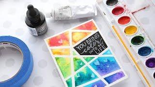 EASY DIY Taped Watercolor - Minimal Supplies Needed