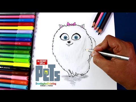 Como dibujar a GIDGET (La Vida Secreta de tus Mascotas) | Drawing ...