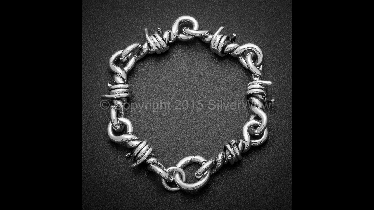 Barb Wire Bracelet for Men - Solid Sterling Silver - YouTube