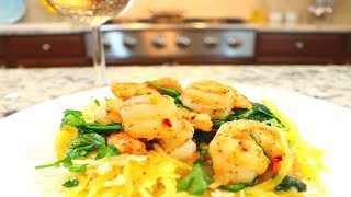 Spaghetti Squash with Garlic Shrimp | Low Carb - Paleo Friendly
