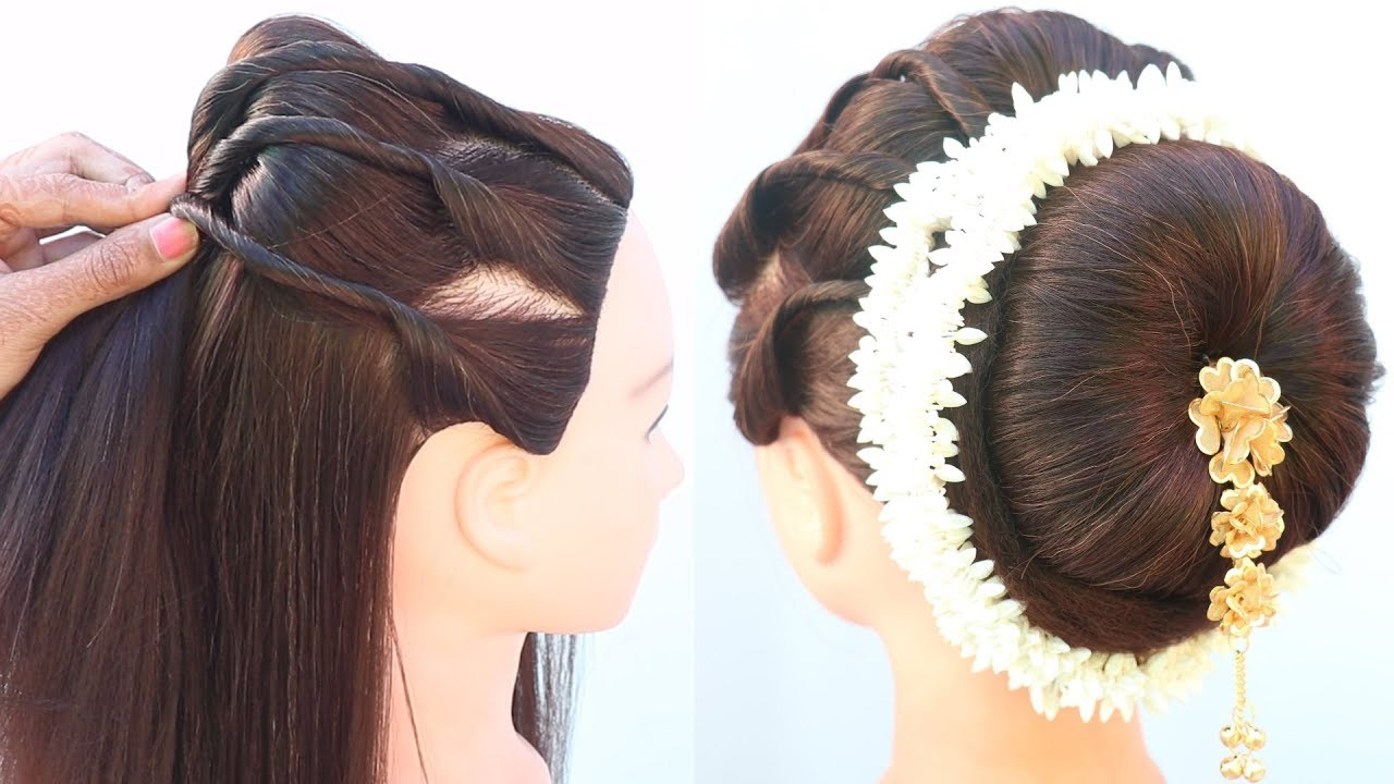 easy juda hairstyle with gajra || wedding hairstyle || new ...