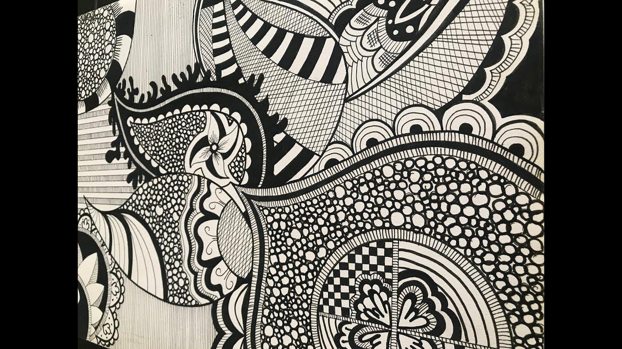 doodle zentangle draw complex beginners step tutorial