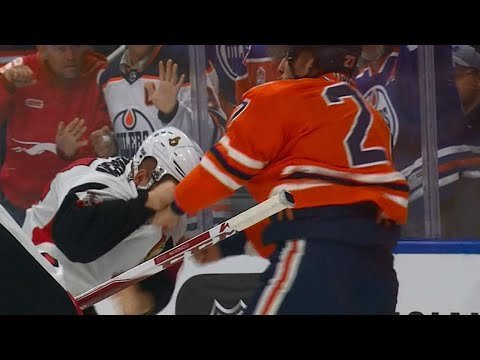 Lucic and Borowiecki drop gloves early on, set tone in Edmonton