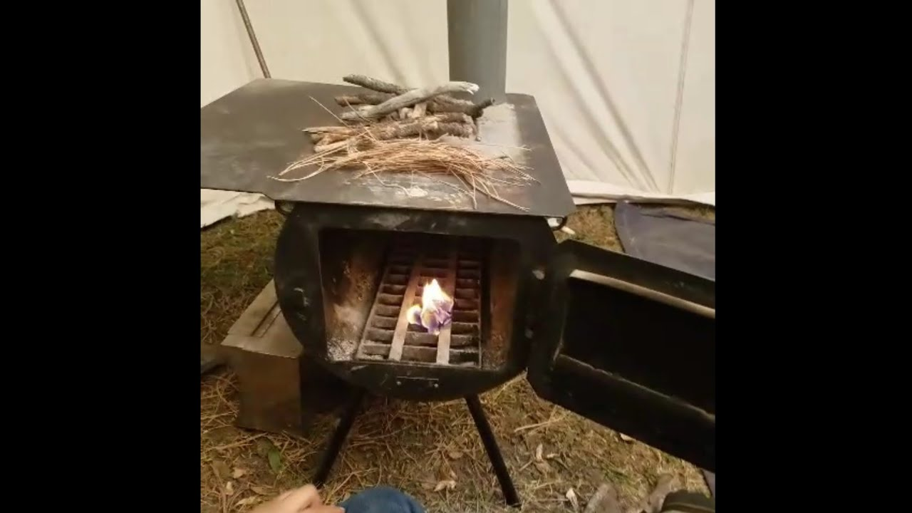Fire Starting Wood Burning Stove In A Wall Tent & Fire Starting Wood Burning Stove In A Wall Tent - YouTube