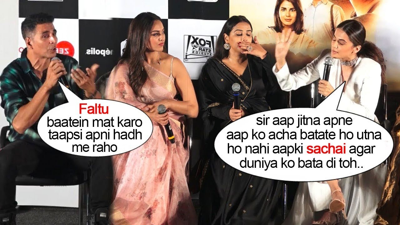 Akshay Kumar gets EMBARASSED By Taapsi Pannu's Behaviour In Front Of Media @Mission Mangalyan L