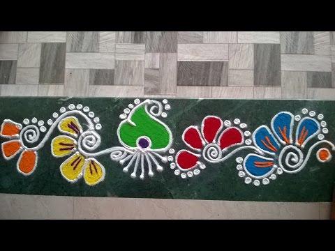 Colorful border rangoli design for Door entrance rangoli designs