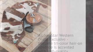 Cowhide And Turquoise Table Runner - Large - Lonestarwesterndecor.com