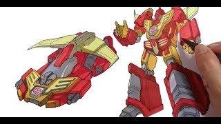 How to color Transformer Hot Rod |Coloring Page for Boys | Transformers Coloring Pages