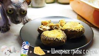 Запеченные грибы со сливками под золотой сырной корочкой!