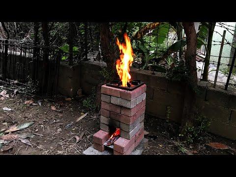 ROKET OCAK NASIL YAPILIR? | Ocakta İlk Yemek | NOHUTLU MANTAR YEMEĞİ ( DIY ) Brick Rocket Stove