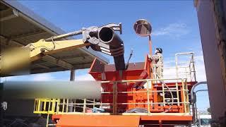 フレキパイプの破砕 破砕機 ライオンシュレッダーEVO Corrugated Pipe shredding