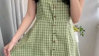 보블루 - 미니 체크 트임 나시 원피스(노랑,오렌지,초…