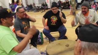 Ogitchi'daa Qway Evelyn Tom (86) Dancing at the 2017 Pikangikum Winter Cultural Festival