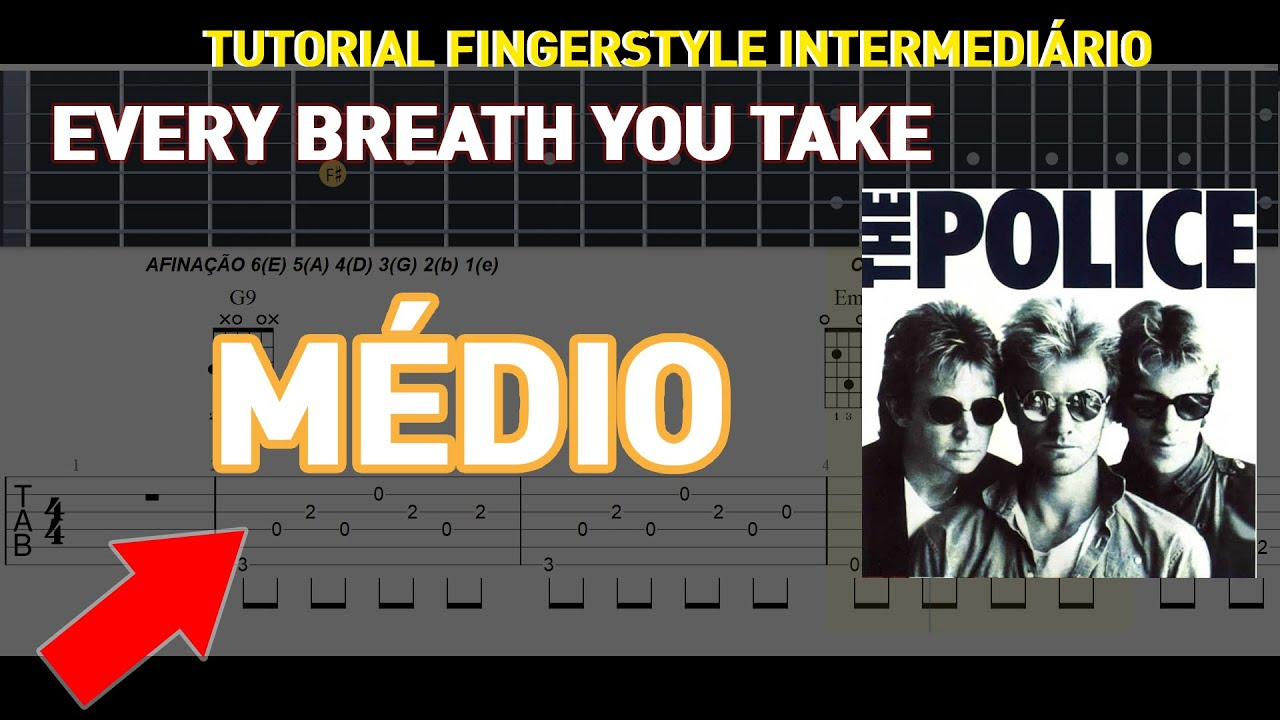 "The Police ""Every Breath You Take"" Violão e Guitar Tutorial Fingerstyle TAB"