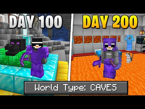 I Survived 200 Days Of Hardcore Minecraft, In A Cave Only World