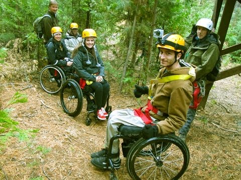 wheelchair zip wire chair with arm table paraplegics lining thru the trees free youtube