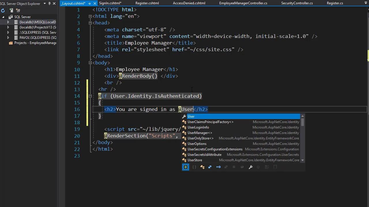Beginning .NET Core MVC, Razor, API, Blazor, Azure Course - Sign Out Button 33/34