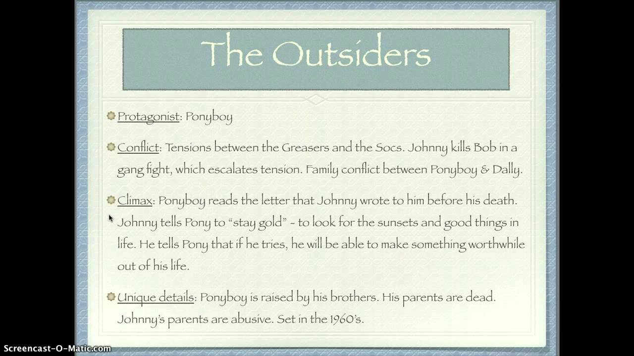 outsiders conflict essay