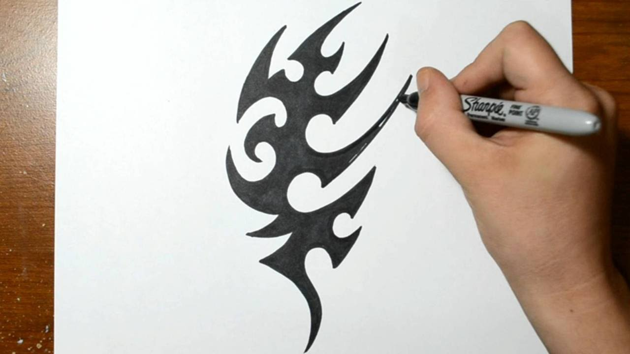 1ec32bbea How to Draw a Tribal Tattoo Design - Sketch 2 - YouTube